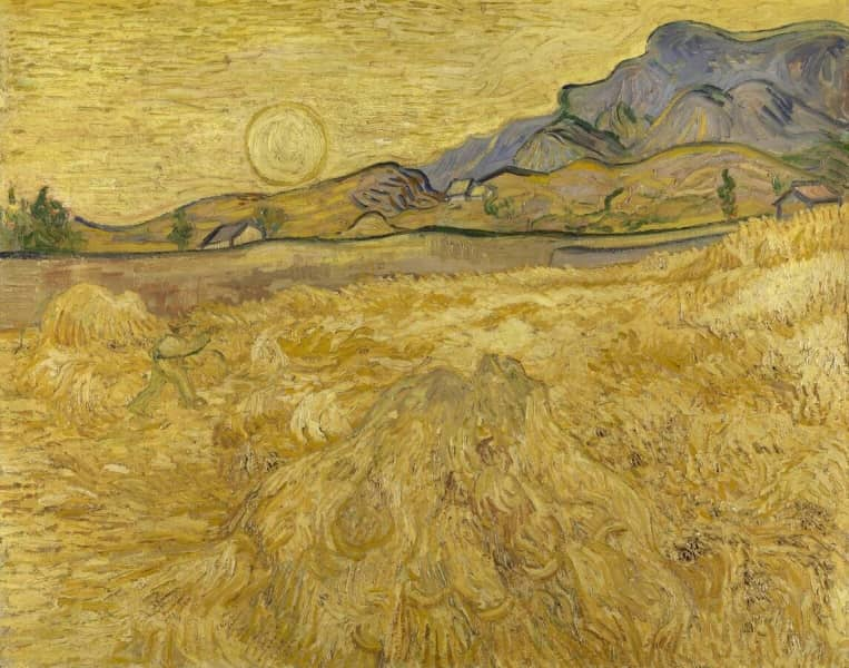 Wheat field with reaper and sun – Kröller-