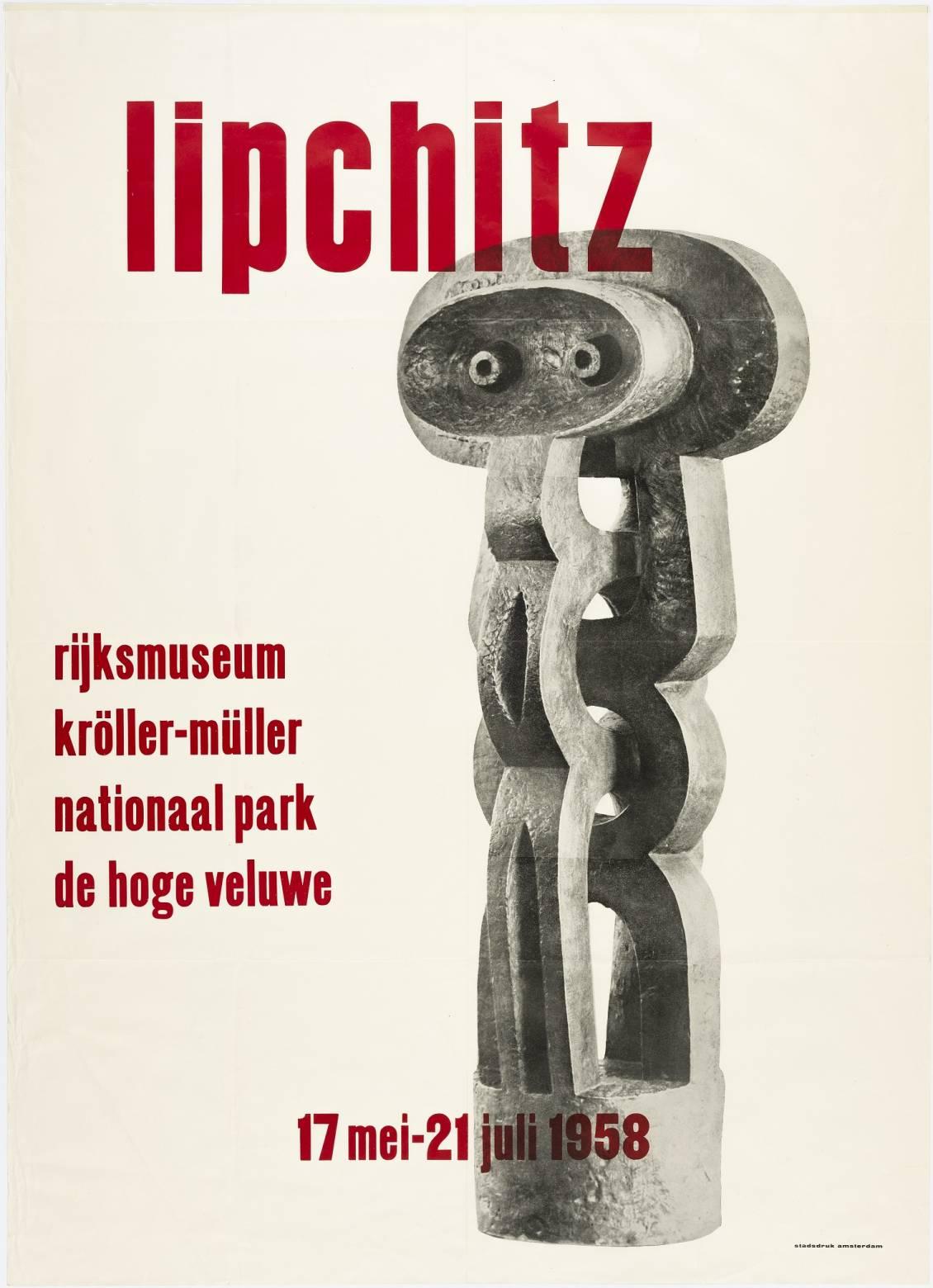 Tentoonstellingsaffiche 'Lipchitz', 1958