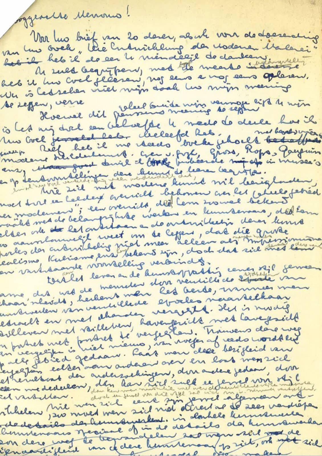 Kladversie van de brief van Auping aan Helene, hij dank haar o.a. voor het boek Beschouwingen, 25 maart 1937