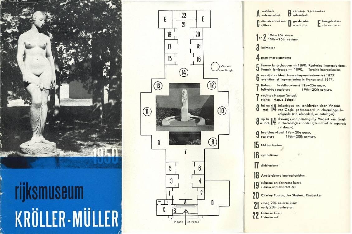 Gids van Rijksmuseum Kröller-Müller met zalenplan, 1950