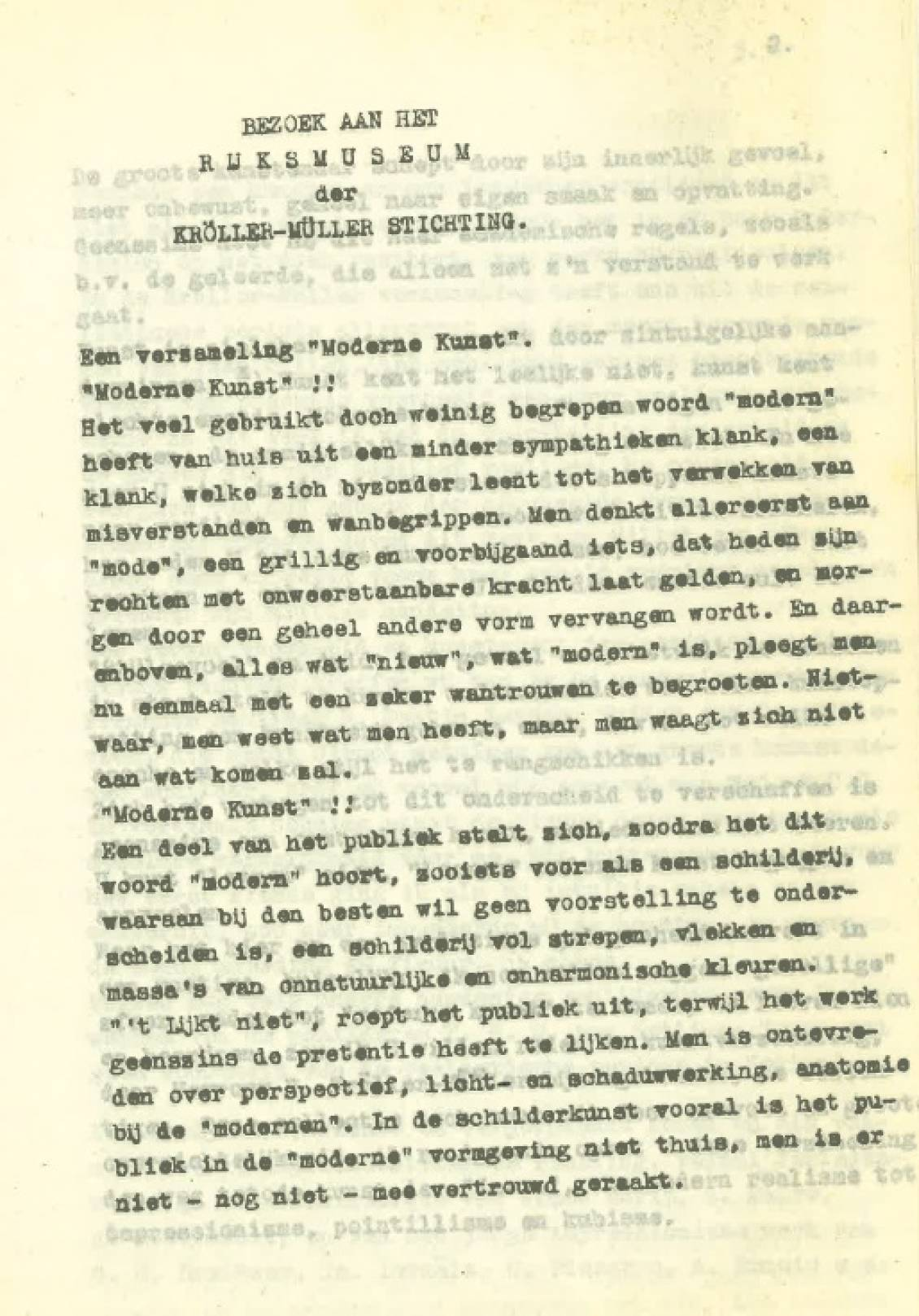Willy Auping, Opstel over de collectie van Sichting Kröller-Müller, 9 juli 1937