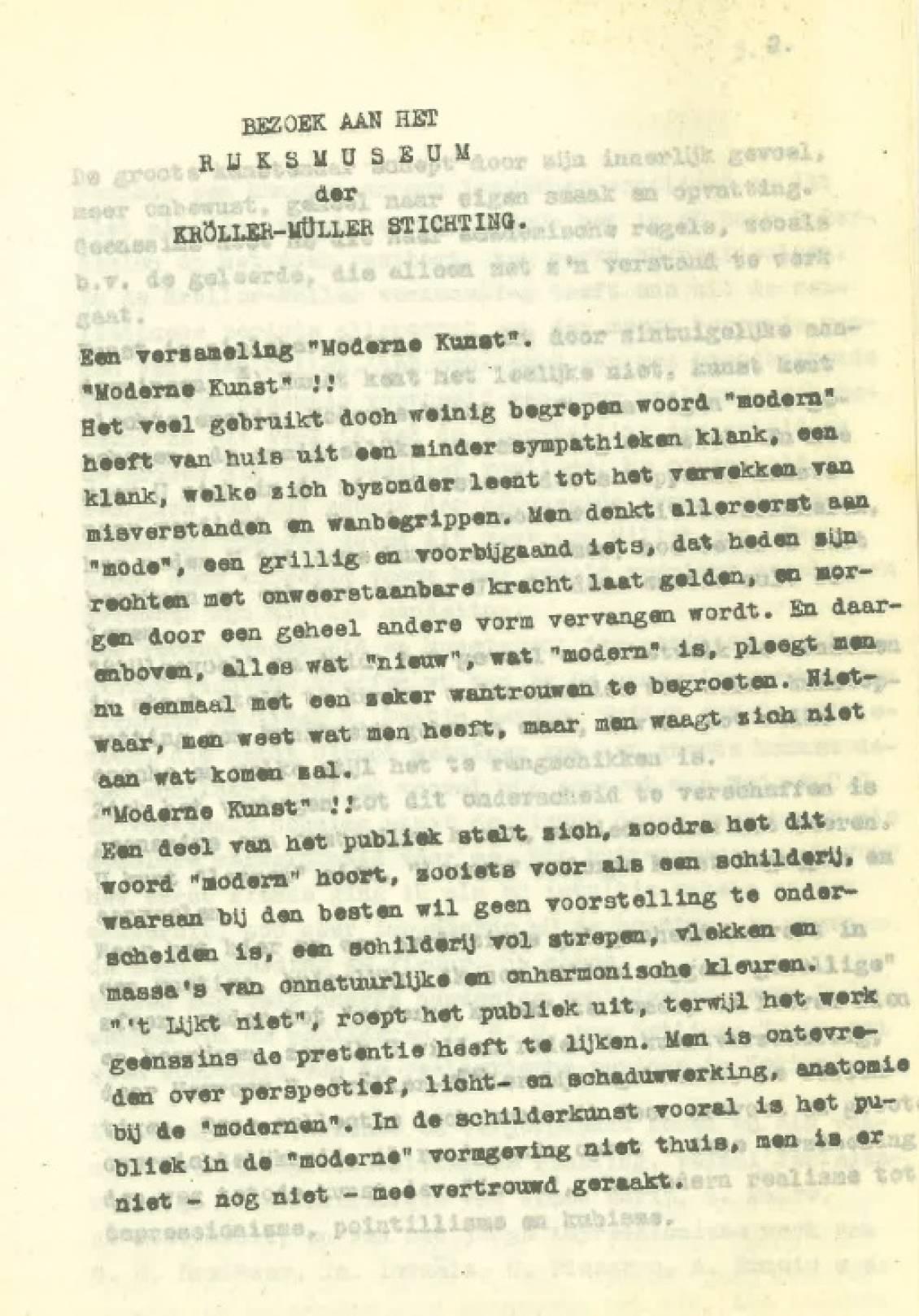 Willy Auping, Opstel over de collectie van Sichting Kröller-Müller, 9 juli 1937