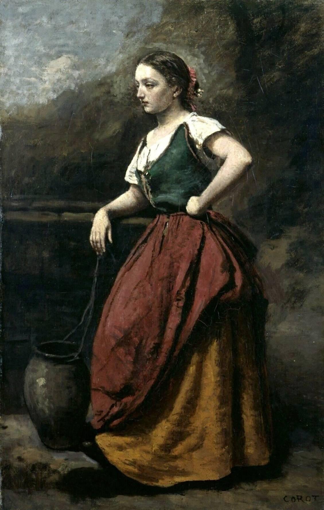 Jean-Baptiste Corot,Jonge vrouw bij een bron, 1865-1870 (Voormalig collectie Rijksmuseum Kröller-Müller)