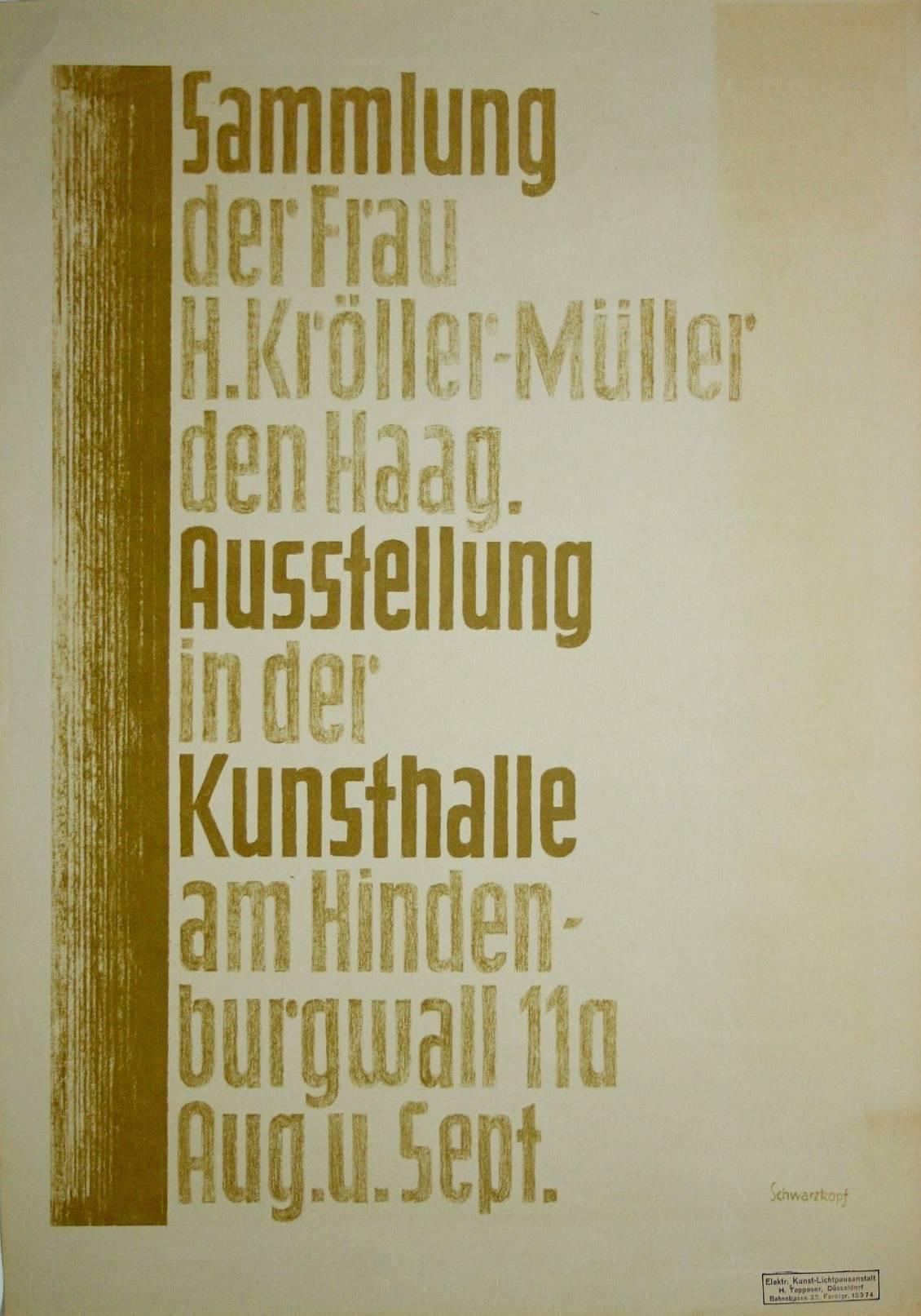 Affiche Kunsthalle Düsseldorf, 'Sammlung der Frau H.Kröller Den Haag', 1928