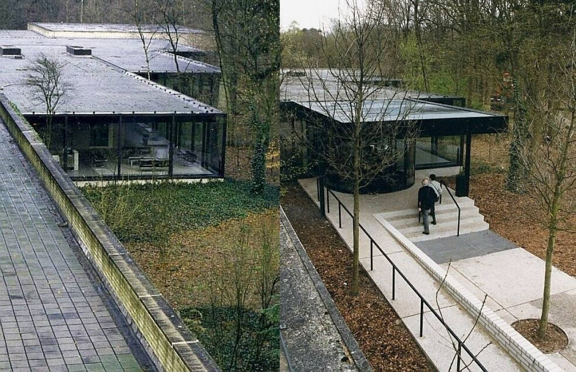 Old situation (left) next to the new entrance to the sculpture garden (right) designed by Wim Quist, 1999