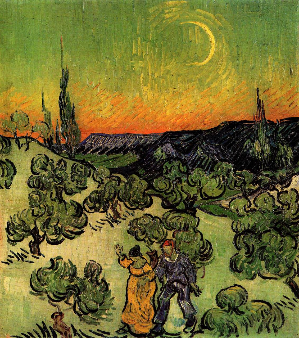 Vincent van Gogh, Landscape with couple walking and crescent moon, 1890  Courtesy Museu de Arte, São Paulo Brazilië