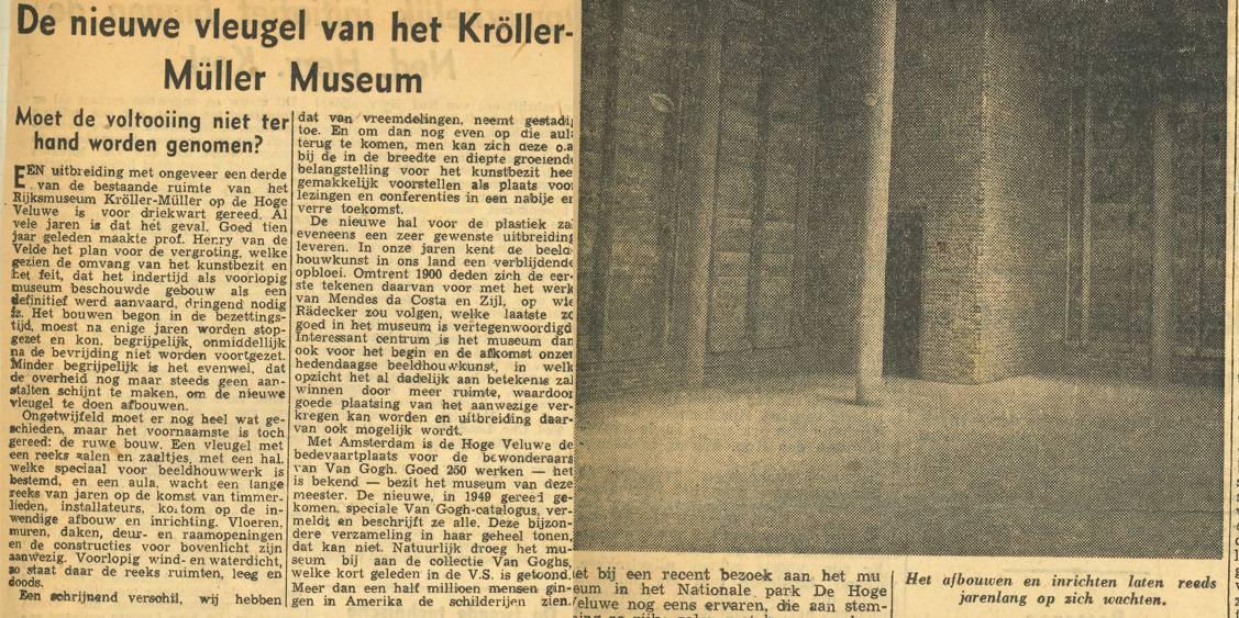 Krantenartikel: Over het uitstel van de bouw van de nieuwe vleugel, 1952