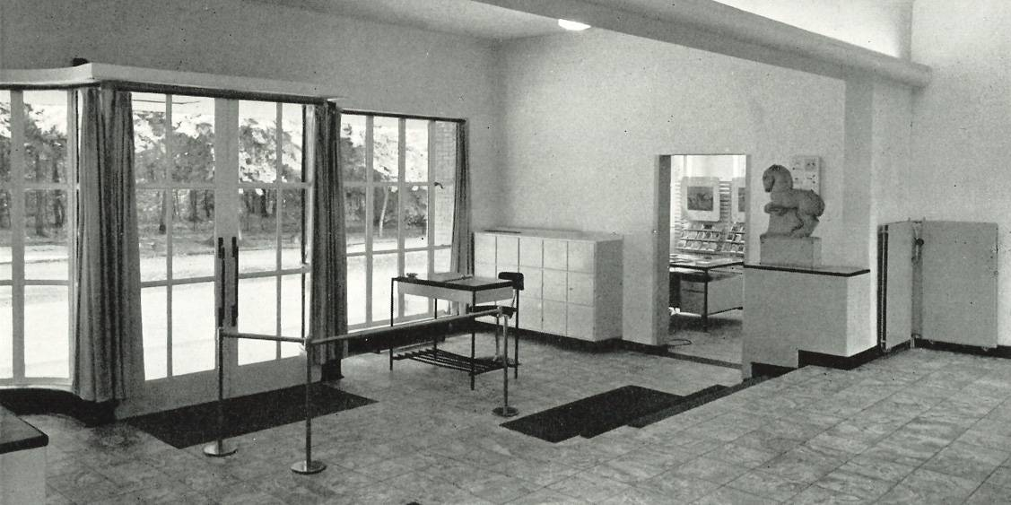 Museum entrance and museum shop, 1953
