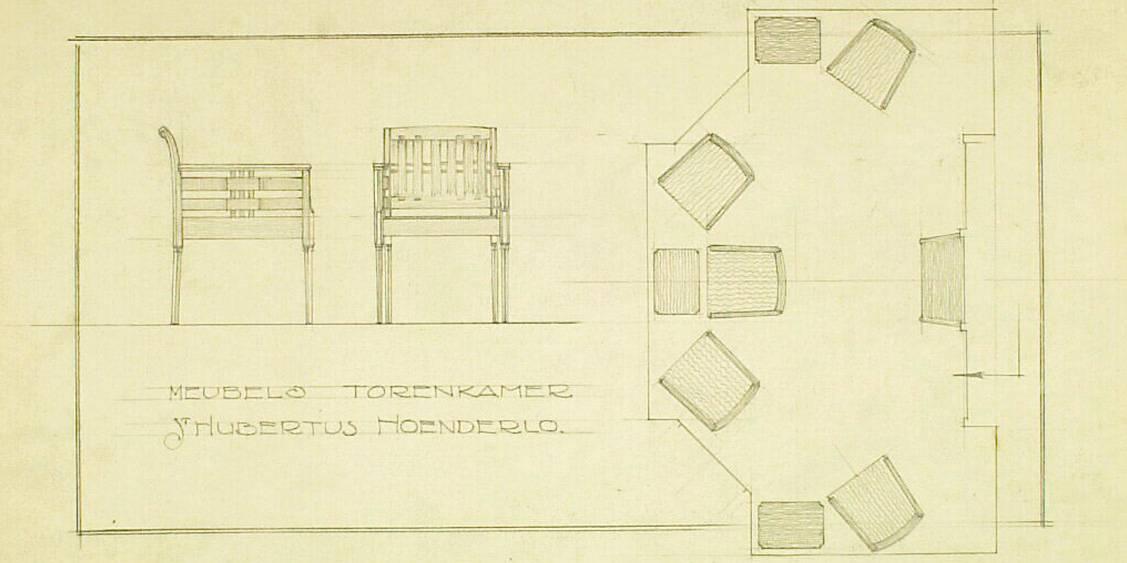 H.P. Berlage, Ontwerp voor de meubels in de torenkamer van Sint Hubertus, 1917-1919
