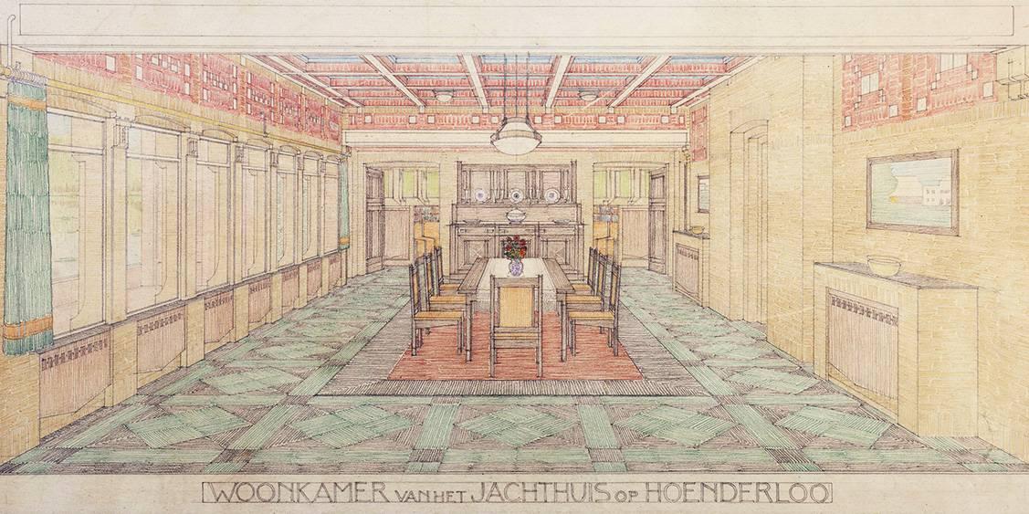 H.P. Berlage, Ontwerp voor de woonkamer van het het jachthuis Sint Hubertus, 1913-1919