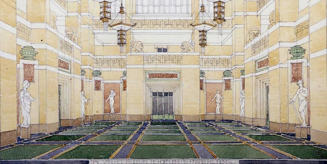 H.P. Berlage, ontwerp voor de grote hal in Museum Hoenderloo, 1918