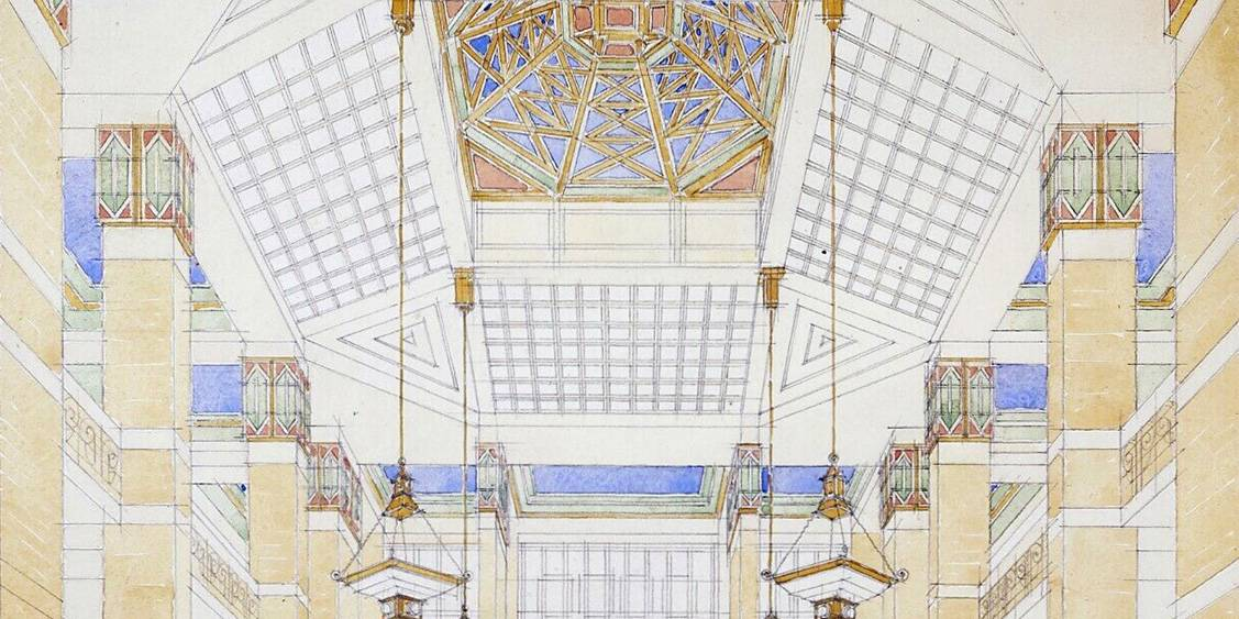 H.P. Berlage, ontwerp voor het plafond van de grote hal in Museum Hoenderloo, 1918