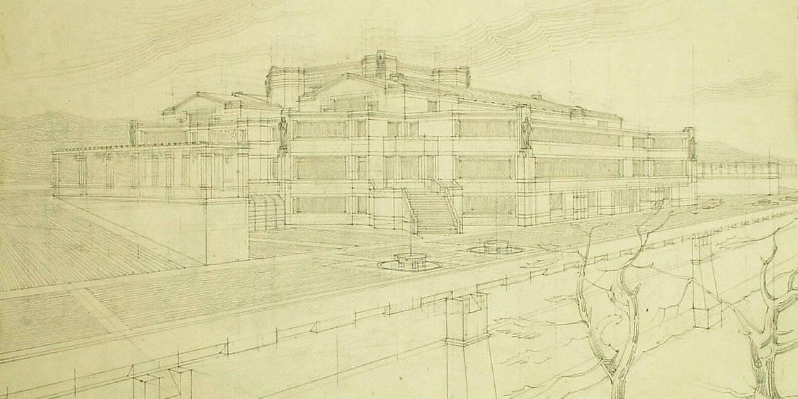 H.P. Berlage, Schets van het aanzicht van Museum Hoenderloo, 1918