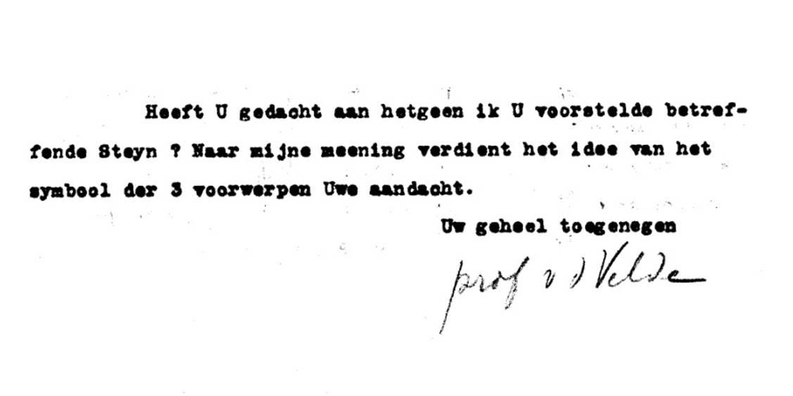 Detail uit brief Henry van de Velde aan Helene over de Steynbank, 13 juni 1924
