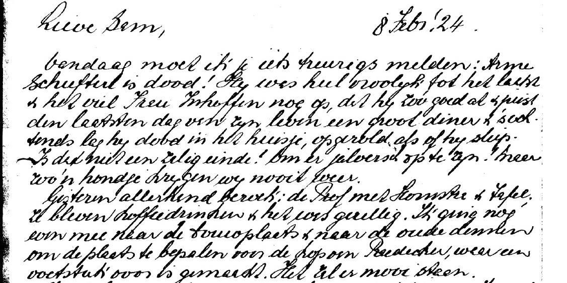 Detail uit brief van Helene aan Sam over de plaatsing Koperen Kop van Rädecker, 8 februari 1924