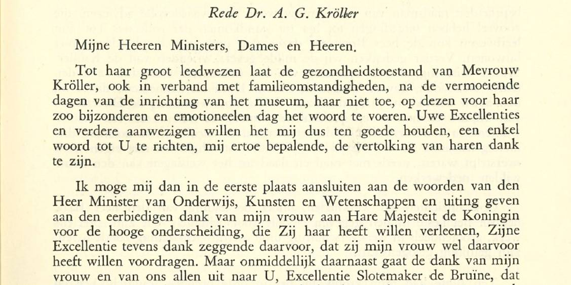 Part of the opening speech by Anton Kröller, 13 July 1938