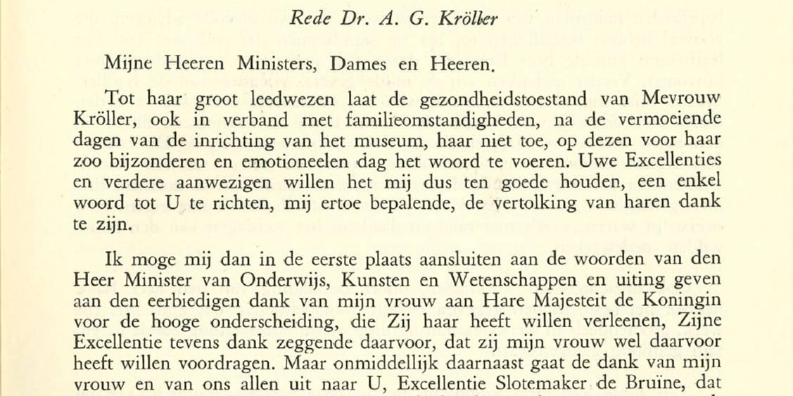 Deel van de openingsrede door Anton Kröller-Müller, 13 juli 1938