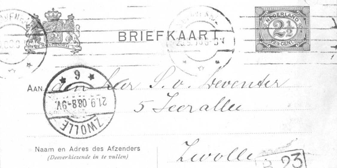 Eerste brief van Helene aan Sam, 1907