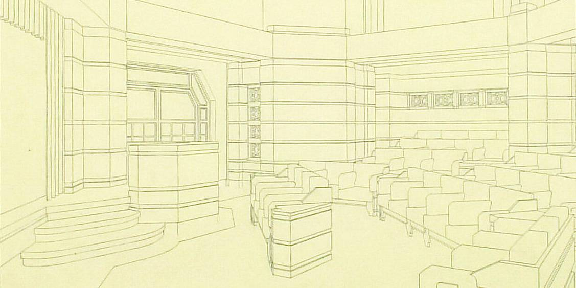 Henry van de Velde, ontwerp voor het 'groote museum', interieurtekening auditorium