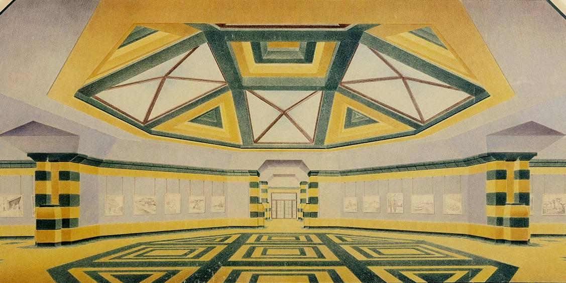 Henry van de Velde, ontwerp voor het 'groote museum', interieurtekening Van Goghzaal