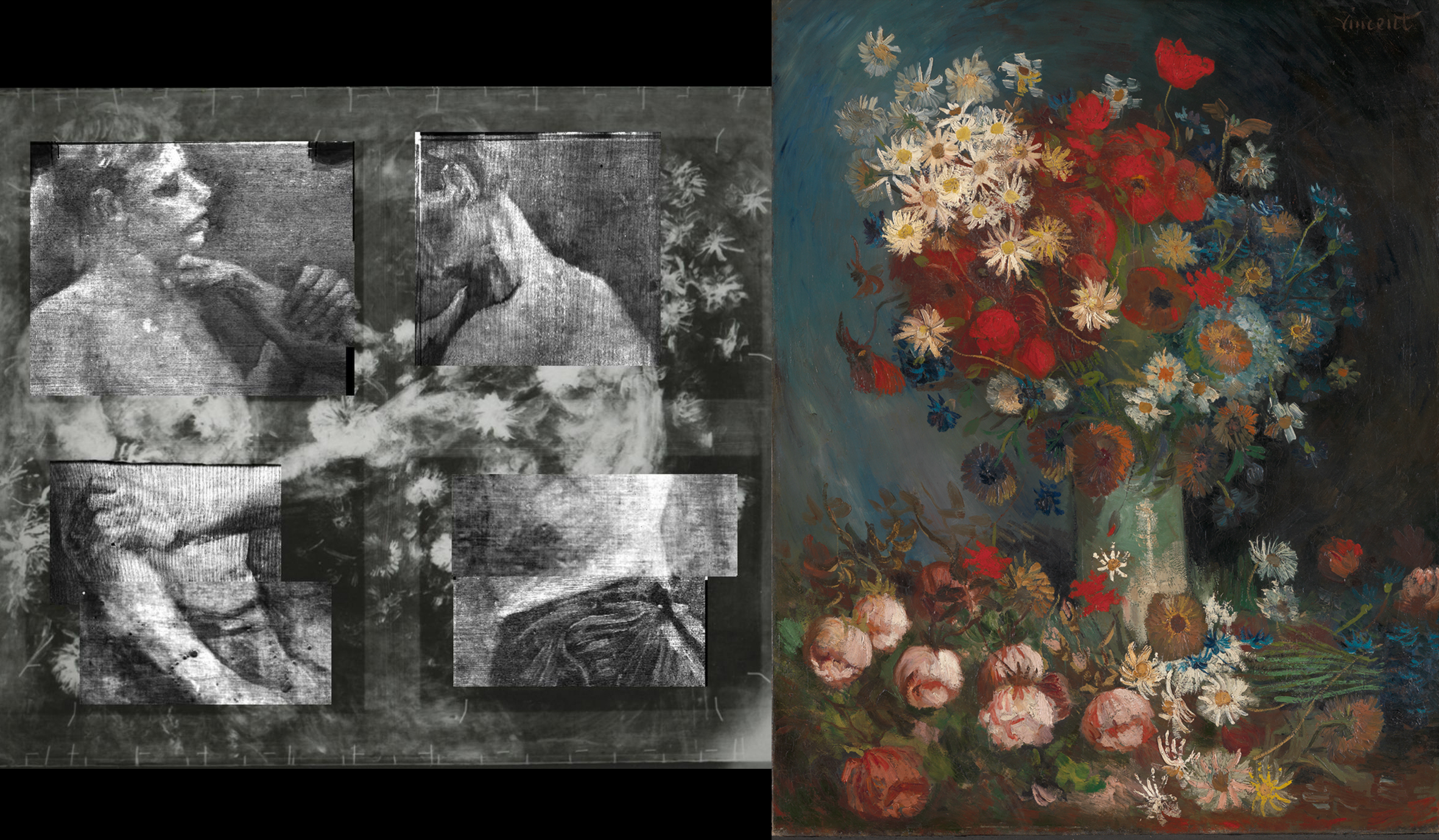 He Painted The Flower Still Life Over It Later. Xrf And Original