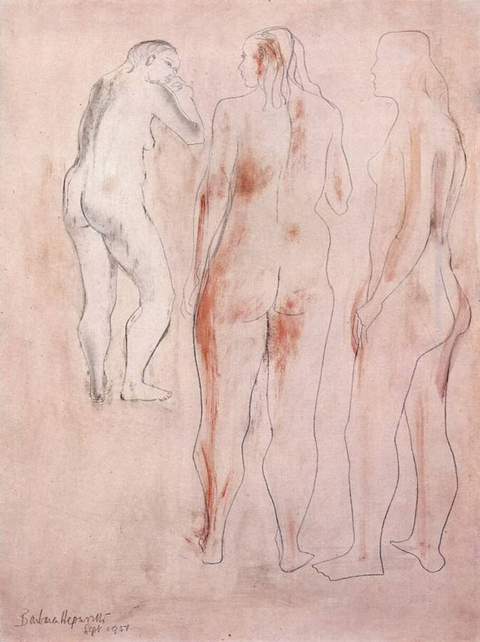 Barbara Hepworth, Group of three figures (Indian Red)